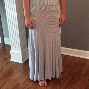 Gap striped gray and white maxi skirt